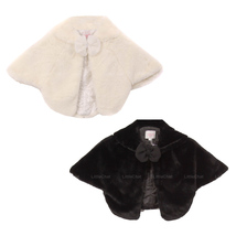 Super Soft Poncho Fur Coat with Quilted Lining and Ribbon Front Closure - $27.95