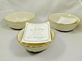 "Lenox 24kt Gold and Ivory China Rose Blossom Bowl Set of 3 - 5.5"" & 4.5"" - $29.99"