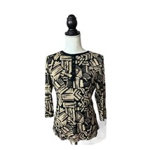 Laura Ashley Womens Top Size Small Black Cream Printed Stretchy  - $11.75