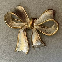 Napier Bow Brooch Pin Mixed Metal Silver Gold Tone Small Size Two Tone C... - $14.22