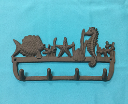 Cast Iron Nautical Hook with Seahorse, Starfish and Fish Wall Mount Rust... - $16.82