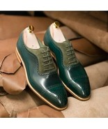 Tan Sole Green Color Superior Leather Lace Up Men Oxford Formal Dress Shoes - $139.99+