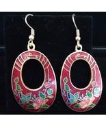 Red Pink Flower Cloissonne Oval Dangle Pierced Wire Earrings - $5.50