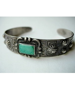 Old Navajo Bracelet Square Cut Turquoise and Re... - $175.00