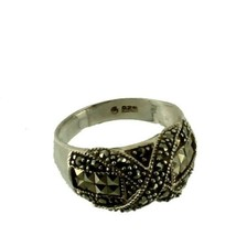 Vintage Sterling Silver Marcasite Criss Cross X Domed Band Ring Pretty! ... - $50.39