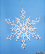 """6 pcs. WHITE 6.5"""" Glittered Plastic Snowflake Ornaments - $7.00"""