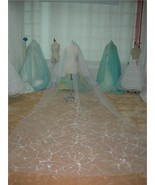 2 Tier White Cathedral Embroider Wedding Bridal Veil v65w - $59.99