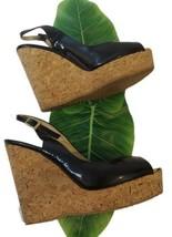 Jimmy Choo PROVA Black Patent Leather Cork Wedge Sandals Size 39.5 EU 9.5 US - $123.75