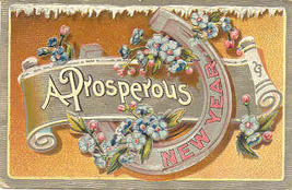 A Prosperous New Year Vintage 1909 Post Card - $5.00