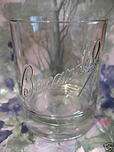 Bacardi Rum Glass HighBall Souvenir Embossed Bat Design