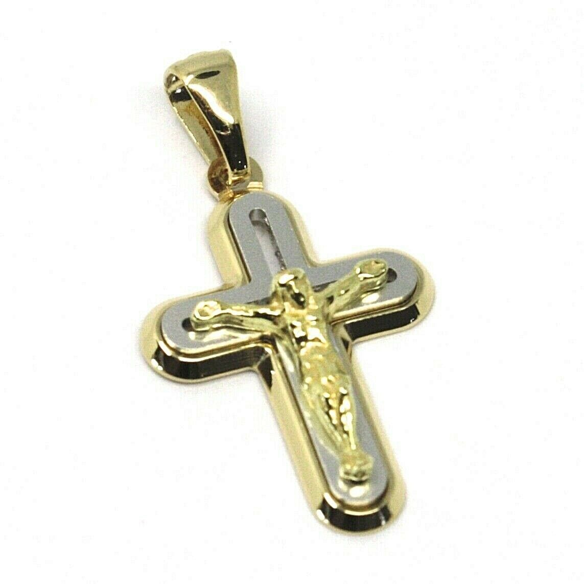"SOLID 18K YELLOW WHITE GOLD ROUNDED JESUS CROSS PENDANT, MADE IN ITALY, 0.8"" 2cm"