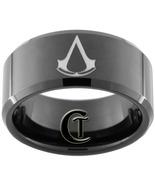 Tungsten Ring 10mm Black Beveled Assassins Cree... - $49.00