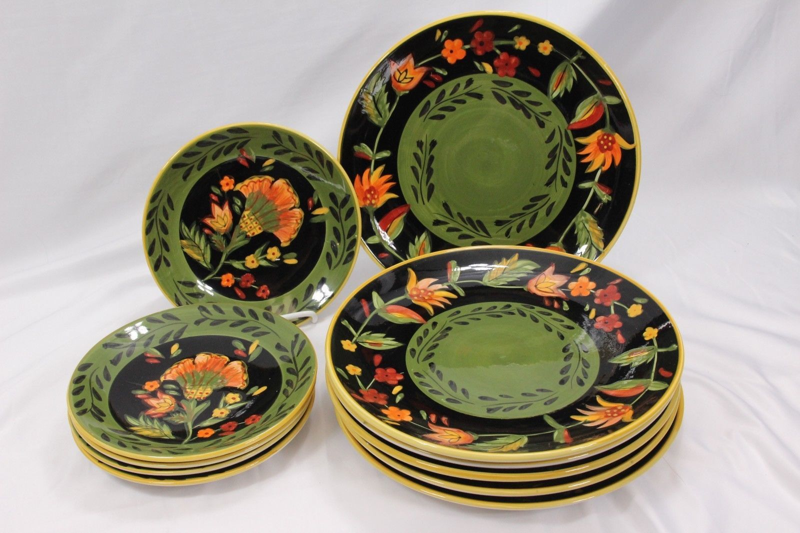 222 Fifth Arabian Flower Dinner and Salad Plates Lot of 11 Hand Painted