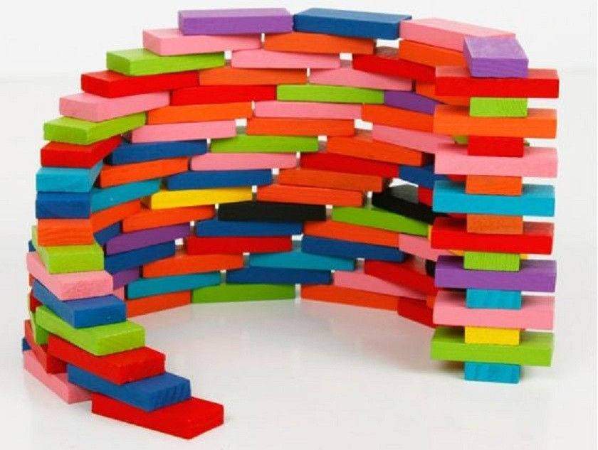 Multicolored Dominos Children Educational Rainbow Coloured Games Toys 120 Pieces