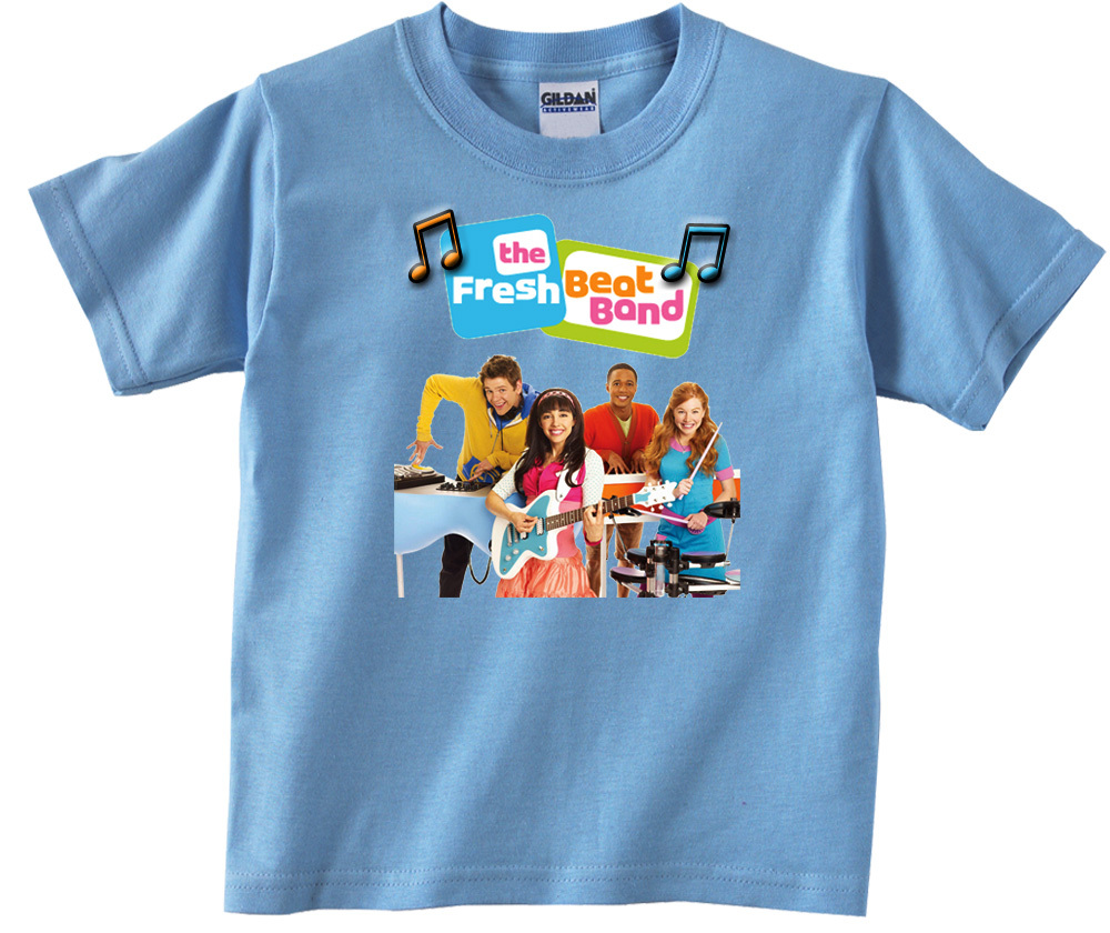 Personalized Fresh Beat Band Birthday Light Blue T-Shirt Gift #1 Add Your Name