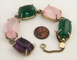 "7"" ESTATE VINTAGE Jewelry CHUNKY GRIPOIX ? ART GLASS RUNWAY STATEMENT BR... - $150.00"