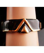 Vintage Monet Bracelet - modernist enamel bangle - black gold hinged bra... - $125.00