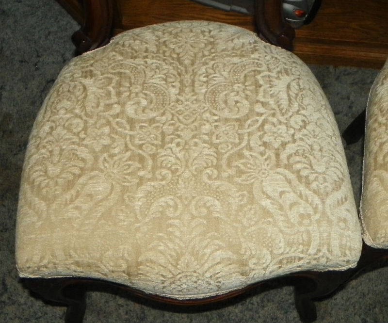 Pair Walnut Carved Parlor Chairs Sidechairs off white print chenille