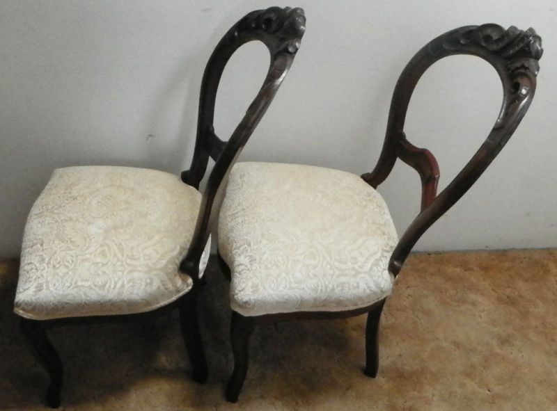 Pair Walnut Carved Balloon BackParlor Chairs Sidechairs