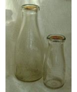 2 Vintage Steffen's Glass Milk Bottles with Cardboard Stoppers - $30.00