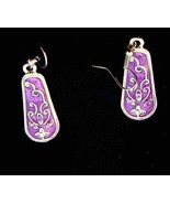 EARRINGS PURPLE FLOWER GEMSTONE PIERCED #366 - $8.99