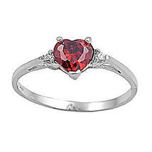 1.27ct Heart Cut Promise Ring Red Fire Garnet Ice CZ Friendship Commitment sz 4 - $17.99