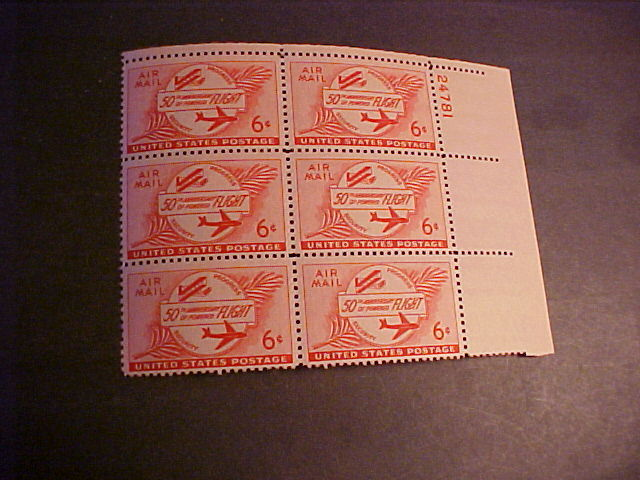 SCOTT C-47 ANNIV. OF POWERED FLIGHT PLATE BLOCK OF SIX
