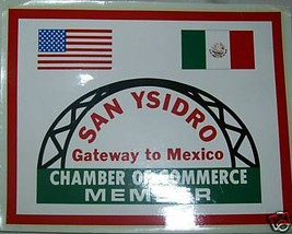 Vintage Sticker SAN YSIDRO MEXICO CHAMBER COMMERCE FLAG - $4.48