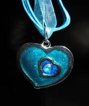 Necklace & Pendant Aqua Blue Double Heart Gemstone #367 - $8.99