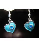EARRINGS AQUA BLUE DOUBLE HEART GEMSTONE PIERCE... - $8.99