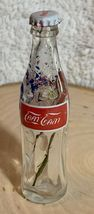 Thailand Coke Coca-Cola Mini Miniature dried Blue Flowers crystal glass bottle