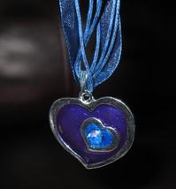 Necklace & Pendant Purple& Blue Double Heart Gemstone #371 - $8.99