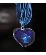 NECKLACE & PENDANT PURPLE& BLUE DOUBLE HEART GE... - $8.99