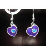 EARRINGS PURPLE & BLUE DOUBLE HEART GEMSTONE PI... - $8.99