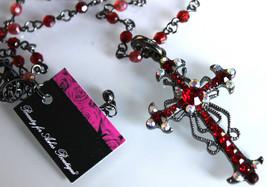 Ruby Red Aurora Boralis Ornate Vintage Scrolled Antique Hematite Cross Necklace - $29.95
