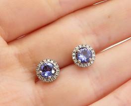 925 Sterling Silver - Vintage Tanzanite & Genuine Diamonds Stud Earrings... - $37.31