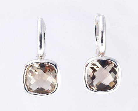Cushion cut Smoky Quartz earrings 925 sterling silver W/G pl