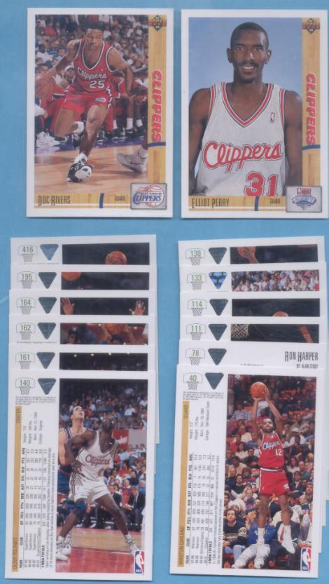 1991/92 Upper Deck Los Angeles Clippers Basketball Team Set
