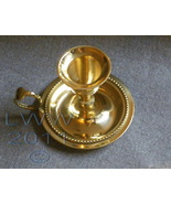 Yellow Brass Chamberstick Taper Tapered candle holder - $7.75