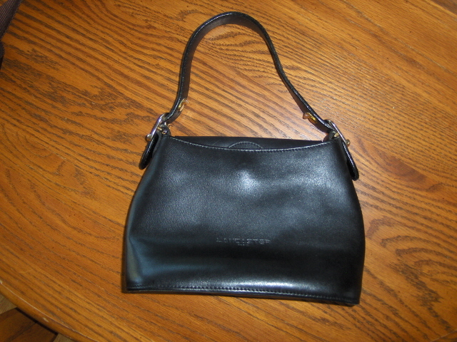 Lancaster Paris Black Leather Handbag Satchel Purse Tote Bag