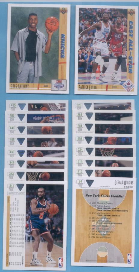 1991/92 Upper Deck New York Knicks Basketball Team Set