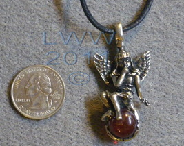 Mischief Fairy on red orb Amulet Necklace Pendant Wicca Paga - $4.90