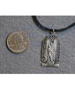 Ancient Egyptian God Horus Hieroglyph Pewter Amulet Necklace - $6.90