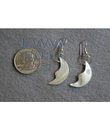 White Pearl-tone Mother of Pearl Crescent Moon Earrings - $2.95