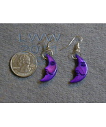 Purple Mother of Pearl Crescent Moon Earrings - $2.95