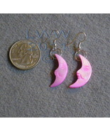 Pink Mother of Pearl Crescent Moon Earrings - $2.95