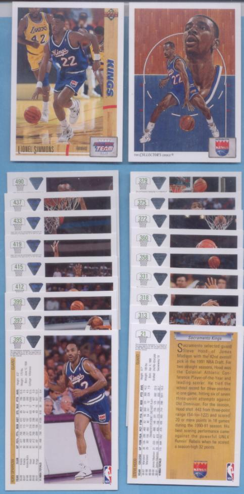 1991/92 Upper Deck Sacramento Kings Basketball Team Set