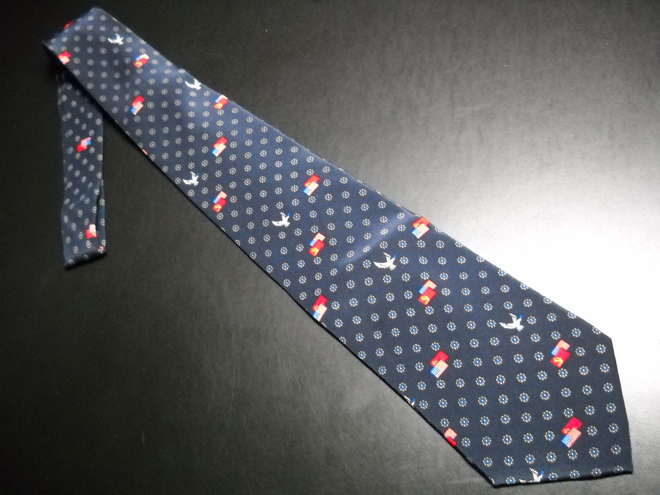 Tie glasnost tie cancer relief macmillan fund blue background with flags and doves 04