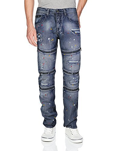 Contender Men's Moto Quilted Zip Distressed Ripped Denim Jeans (44W x 32L, 9FD16