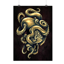 Octopus Tiger Face Animal  Matte/Glossy Poster A0 A1 A2 A3 A4 | Wellcoda - $7.99+